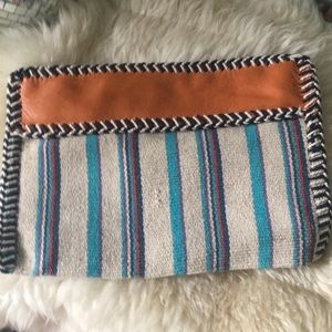 Handbags - Leather and Serape Textile Clutch